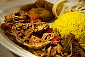 Ropa Vieja; Cuban Skirt Steak Boiled with Vegetables; Yellow Rice
