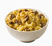 Macaroni and Cheese with Ground Beef in a Bowl; White Background