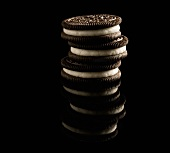 Stacked Oreo Cookies on a Black Background