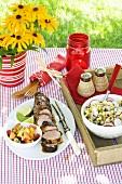 Pork Tenderloin Dinner on an Outdoor Table