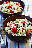 Two Bowls of Greek Rice Salad