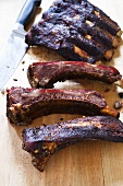 Texas Style Barbecue Beef Ribs on Cutting Board
