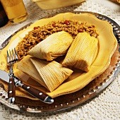 Beef Tamale with Spanish Rice