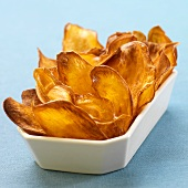 Fried Sweet Potato Chips in a White Dish