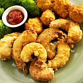 Cornmeal Battered Cajun Shrimp with Hush Puppies; Ketchup and Broccoli