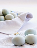 Organic Eggs on White Cloth
