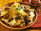 Cheese and Beef Nachos; Salsa
