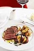Sliced Beef Filet with Potatoes and Heirloom Tomatoes