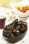 Bowl of Mussels with Dark Beer and Fries