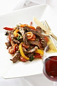 Beef and Bell Pepper Stir Fry; Red Wine