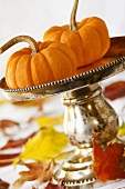 Pumpkin Centerpiece With Autumn Leaves