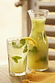 Glass and Carafe of Mint Lemonade