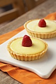 Lemon Tartlets with Raspberry Garnish