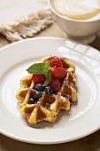 Belgium Waffle with Berries; Latte
