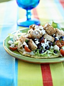Chicken Tostada with Black Beans and Feta Cheese