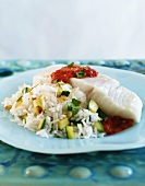 Halibut with Zucchini Rice