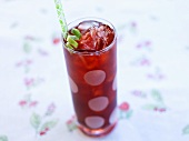 Raspberry Iced Tea with Lime Zest and Straw