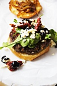 Greek Lamb Burger with Feta Cheese, Sun Dried Tomatoes and Olives