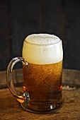Glass Mug of Beer on Wooden Table