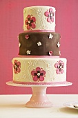 Brown and Pink Three Tiered Wedding Cake