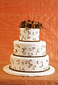 Brown and White Tiered Wedding Cake