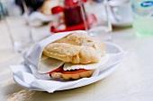 Panino caprese (Tomato and mozzarella sandwich, Italy)