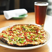 Scallion and Red Pepper Pizza; Beer