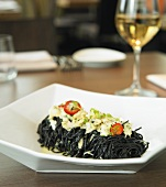 Black Capellini with Crab Meat; White Wine