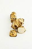 Jerusalem Artichoke; Sunchoke; On White Background