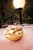 Basket of Italian Bread on Dinner Table