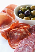 Charcuterie Platter with Prosciutto, Sopressata and Salami; Mixed Olives