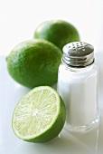 Fresh Limes with Salt Shaker