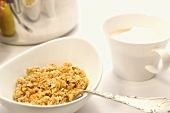 Bowl of Oatmeal with a Cup of Coffee with Steamed Milk