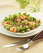 Sauteed Shrimp with Fresh Baby Greens, Bacon and White Beans