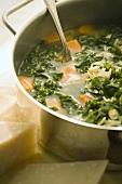 Pot of Kale, Sweet Potato and Orzo Soup; Parmesan Cheese