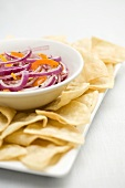 Bowl of Red Onion Salsa with Chips