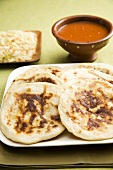 Pupusa on a Platter; Salsa and Pickled Cabbage