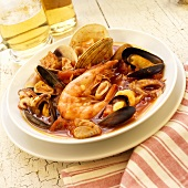 Bowl of Seafood Stew with Shellfish and Calamari