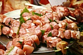 Shish Kabobs Made with Chicken, Veal and Bay Leaves; On Display at Market in Florence, Italy