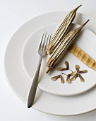 Simple White Place Setting with Dried Okra Pods