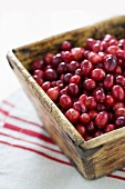 Cranberries in wooden box