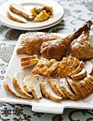 Carved turkey on serving platter