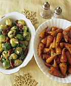 Sauteed Brussels Sprouts and Carrots in Serving Bowls