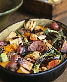 Grilled Harvest Vegetables with Rosemary Red Wine Sauce in Bowl