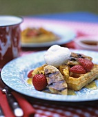 Waffle with Grilled Banana, Strawberries and Maple Whipped Cream