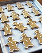 Decorated Gingerbread Men Cookies on Cookie Sheet