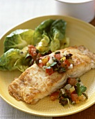 Fish Steak with Pepper, Tomato and Olive Salsa