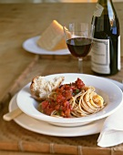 Spaghetti with Chunky Tomato Sauce and Bread; Red Wine