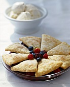 Berry Pie Topped with Homemade Biscuits; Vanilla Ice Cream