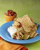 Southwestern Wrap with Tortilla Chips; Salsa